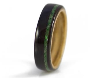 Wood Ring In Ebony With Offset Jade Inlay & Zebrawood Liner - unique mens wedding bands, wooden rings, unusual wedding rings.