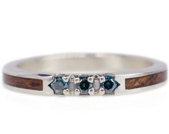 Women's Wood Wedding Ring With Teal Blue Diamonds, White Gold, & Mahogany Wood / Wooden Diamond Ring / Blue Diamond Wedding Band / For Her