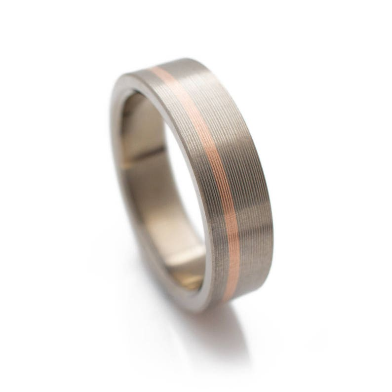 Titanium Ring With Offset 14k Rose Gold Inlay womens wedding  71b9d93d457ca