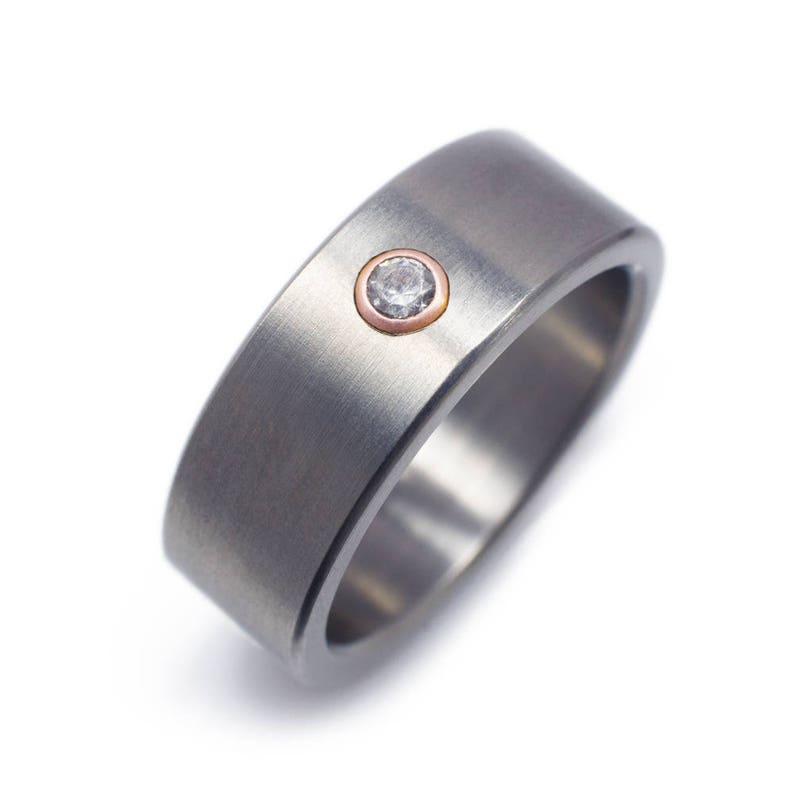 12f21366bdc12 Mens Diamond Wedding Ring In Titanium With Rose Gold Bezel - Male  Engagement Rings - Mens Engagement Rings - Mens Rings - Mens Wedding Bands