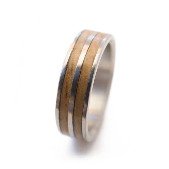 Eiche Holz Ring Und Titan Holz Herrenring Herren Hochzeit Etsy