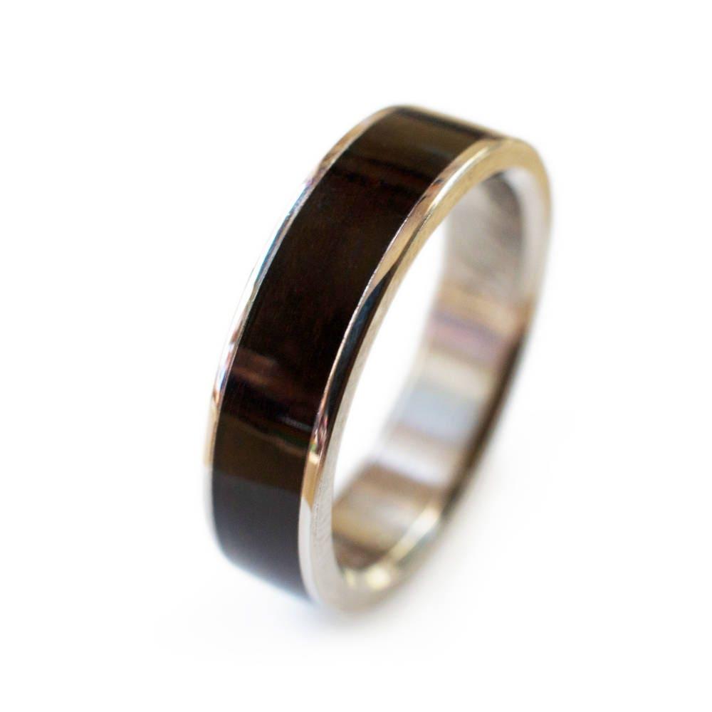 Wood Ring In Ebony With Titanium Modern Wedding Rings Wedding Ring Designs Different Wedding Rings Unusual Wedding Rings Wooden Rings