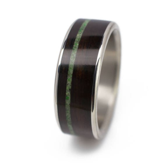 Wood Wedding Ring For Him Or Her Ebony Wood Ring With Jade Etsy