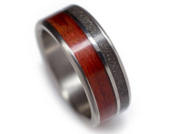 Meteorite Wedding Ring with Bloodwood - Made From Iron Meteorites, Pallasites, and Mesosiderites