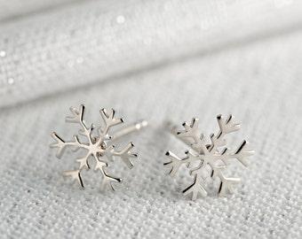 Cute red kids snowflake christmas gift rose gold earrings jewellery UK seller