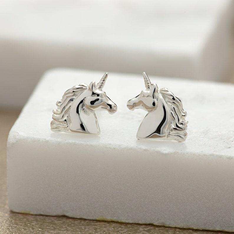 0956215eb Sterling Silver Unicorn Stud Earrings Unicorn Gift Unicorn   Etsy