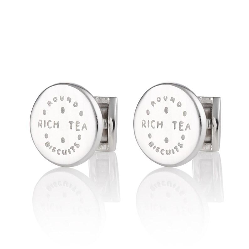 Gifts for Men Sterling Silver Cufflinks Mens Cufflinks Sterling Silver Rich Tea Cufflinks Biscuit Cufflinks Valentines for Men