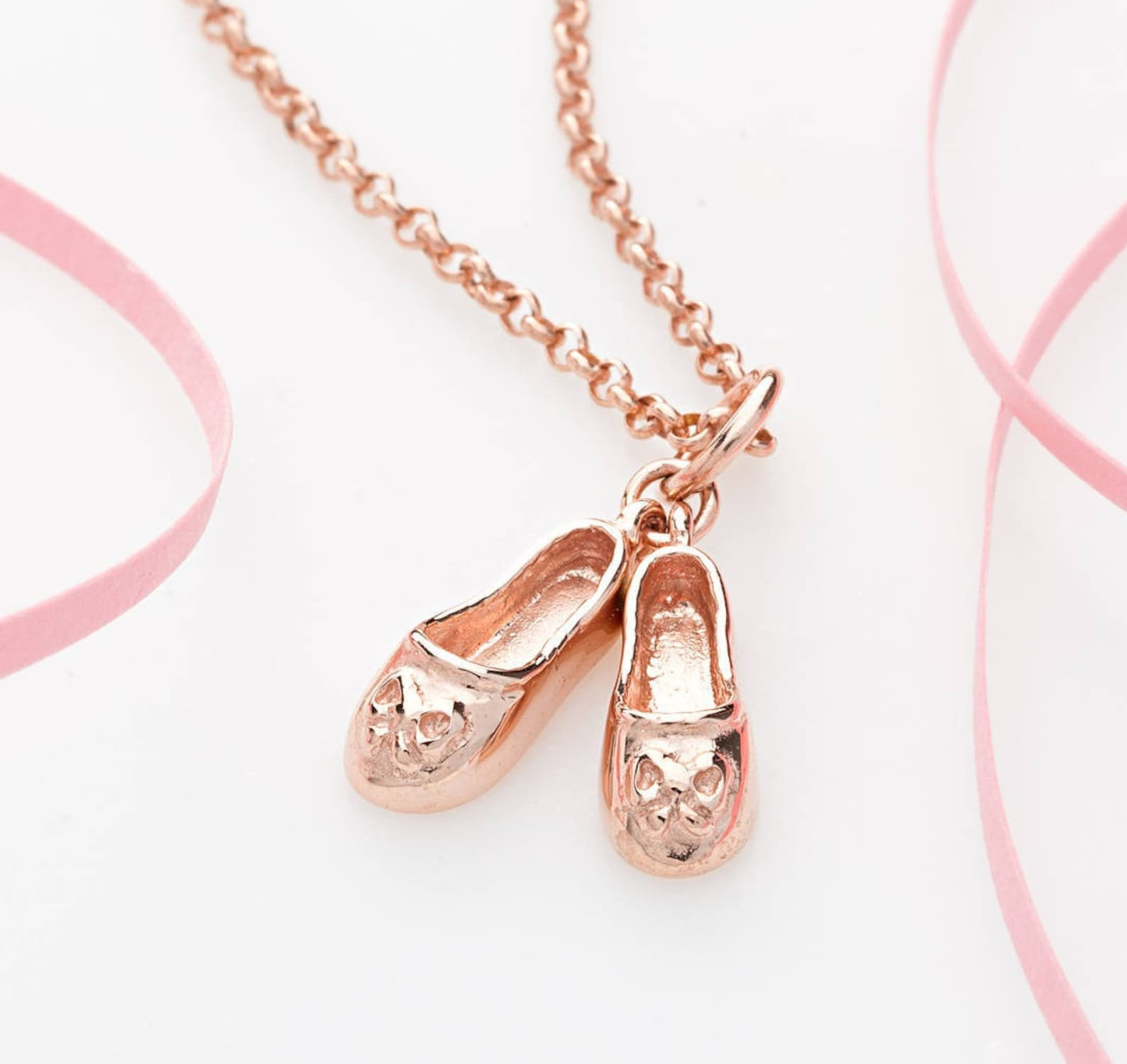 rose gold ballet shoes charm necklace - personalised ballet shoes pendant - ballet dancer gift - ballerina gift - pink ballet sh