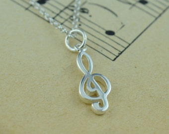 Sterling Silver Treble Clef Charm Necklace - Music Gift - Music Exam Congratulations - Gifts for Her - Personalised Gifts - Music Pendant
