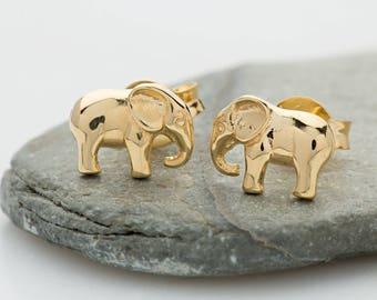 Gold Elephant Stud Earrings, Gold Elephant Earrings, Elephant Gifts, Elephant Jewellery, Elephant Studs, Elephant Jewelry