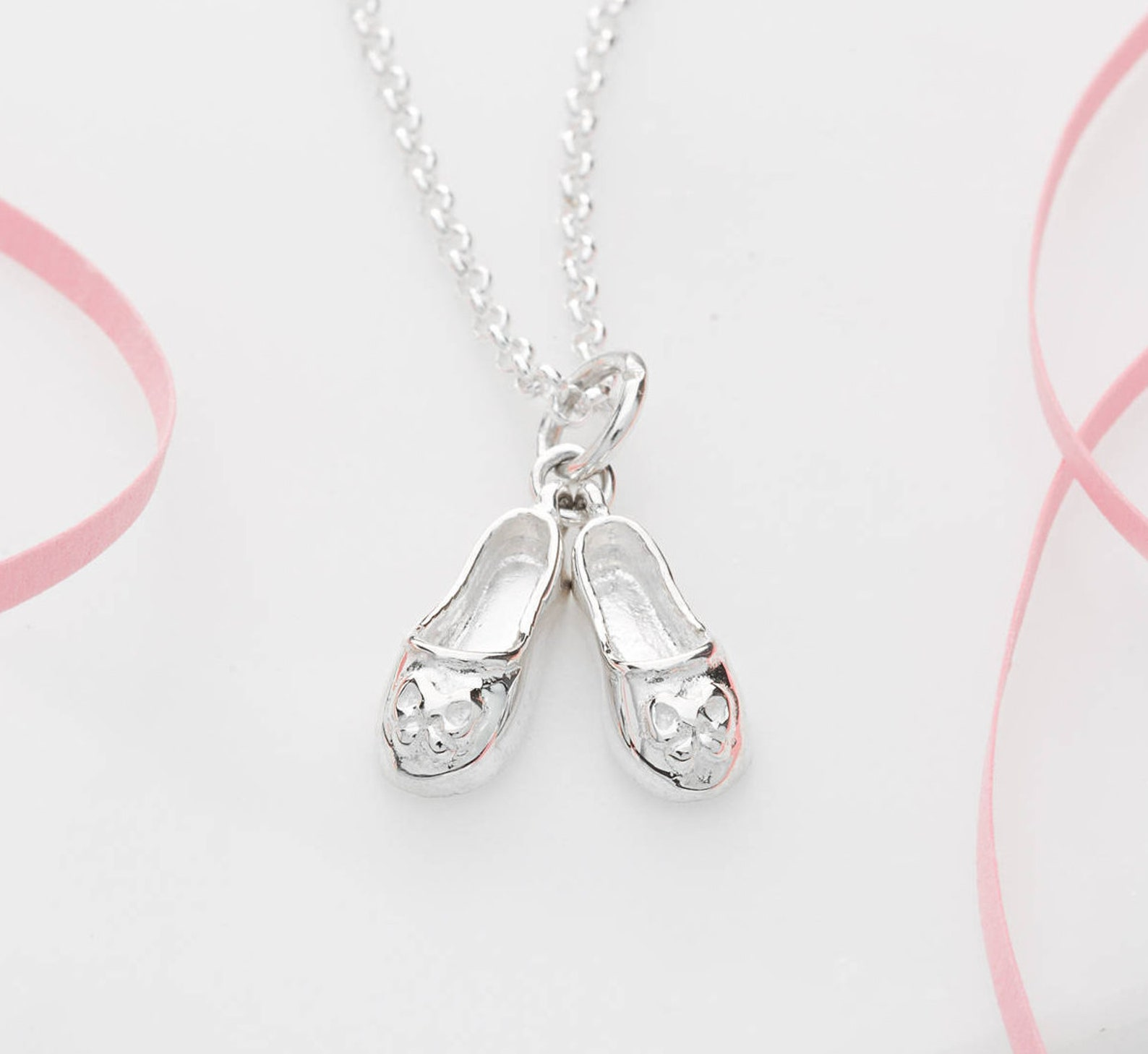 sterling silver ballet shoes necklace - gifts for girls - ballet shoes pendant - ballet shoes necklace - silver ballet shoes cha