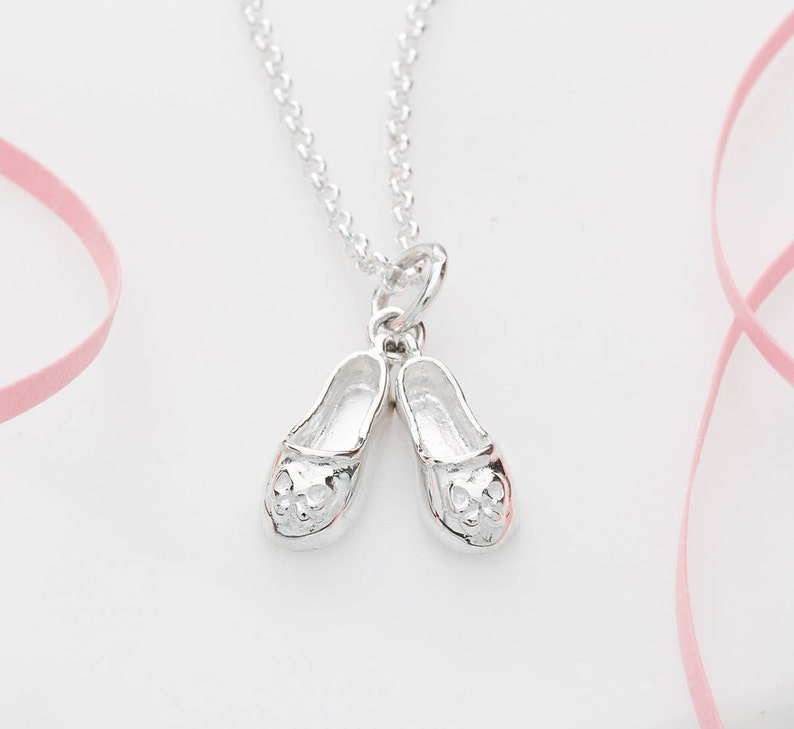93870be720c Sterling Silver Ballet Shoes Necklace Gifts for Girls