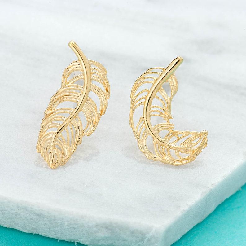 527622b99 Gold Plated Feather Stud Earrings Bird Stud Earrings   Etsy