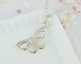 Custom Silver Butterfly Charm Necklace - Butterfly Pendant - Butterfly Necklace - Gifts for Her - Birthday Gift - Personalised Gift