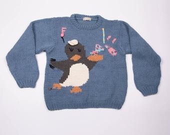 d31b1798d3d525 Vintage Penguin Bird Funny Cartoon Knit 90s Sweater