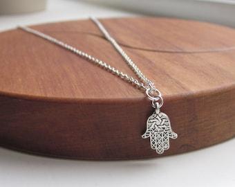 Hamsa necklace uk, yoga jewellery, hand of fatima, hamsa charm, boho jewellery, spiritual jewellery, uk seller,  hamsa pendant