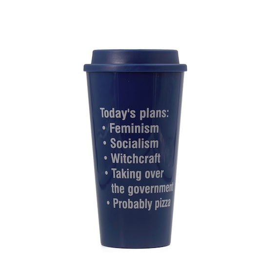 A Male-Dominated Government Is An Illegitimate Government Feminist Travel Mug in Red