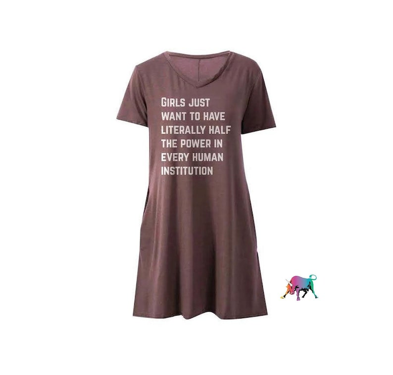 289ba39359ddc POCKETS! Girls Just Want to Have Literally Half the Power in Every Human  Institution Feminist V-Neck Dress in Cocoa (sizes S - 3X) feminism