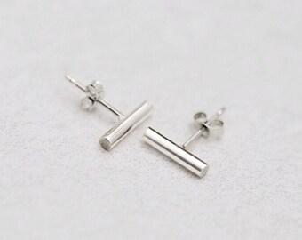 Sterling Silver Rod Earrings Minimal Stud Earrings