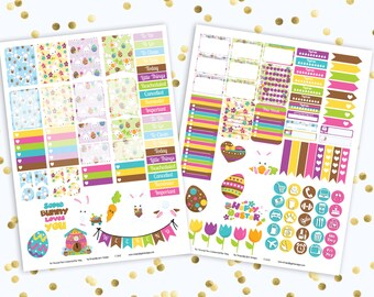 50% OFF DIY Some Bunny Loves You Easter Printable Planner Stickers Mini Kit 125 Stickers pdf 2 jpeg