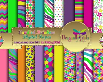 80% OFF Candied Rainbow Digital Paper Pack commercial use,scrapbook papers,background,animal print ,flowers,colorful, Chevron, Dots