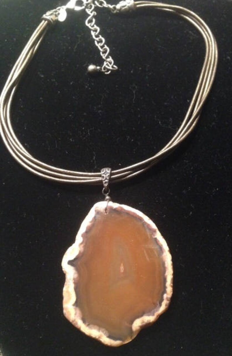 Vintage Agate Slice Brown Natural Raw  Large Gemstone Slab Cut Formed Pattern Pendant Multi Vinyl Bronze Necklace Choker
