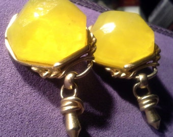 Vintage Large Translucent  Yellow Acrylic Stone Clip Earrings