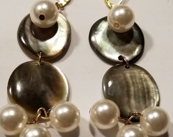 Handcrafted Mother of Pearl Grey Shell Faux Pearl Dangle Earrings
