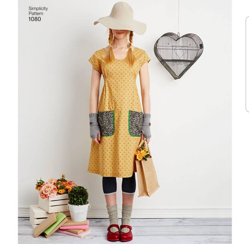 S9122 Uncut Jumper Dress Tunic Dottie Angel Frock Pattern Simplicity 1080 S1080 9122 XS S M XL Misses