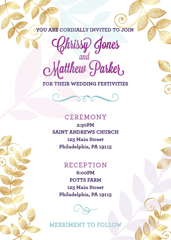 PRINTABLE Wedding Invitation Gold Standard Collection
