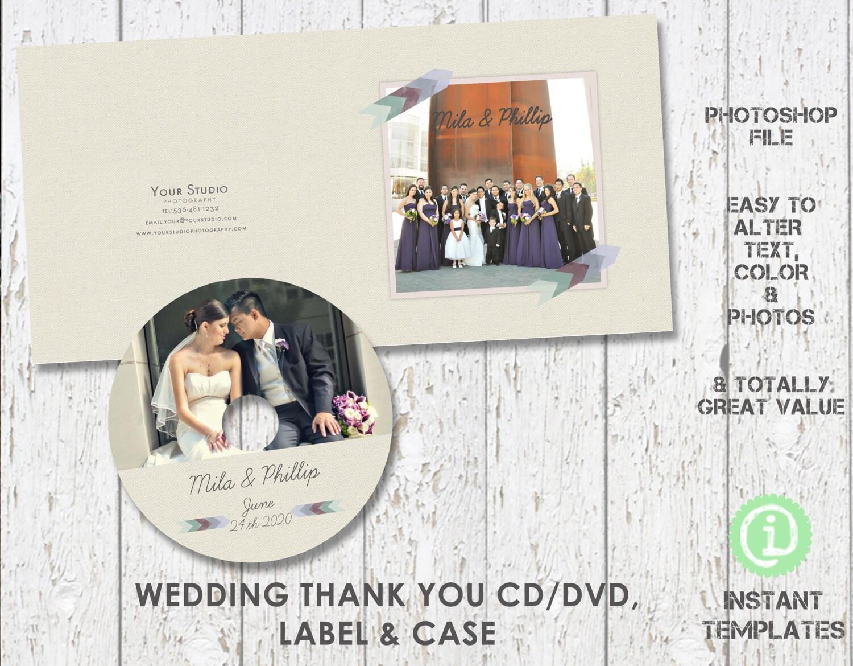 Boda gracias CD DVD etiqueta y caja plantilla plantilla de