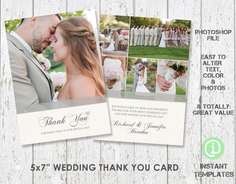 Wedding Card Template Thank You Card 5x 7 Etsy