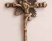 Child Crucifix Radiant Jesus Sterling Silver Bronze Religious Vintage Catholic Pendant Colonial Spain 18th Century 038