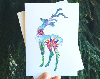 Hand-drawn Reindeer Holiday Card Set