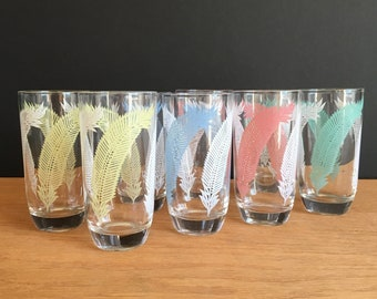 e02df574619 Vintage Pastel Flower Tumbler Drinking Glass Set   Set of 8   Feather  Design   Pastels   Blue   Pink   Green   Yellow   Drinking Glasses