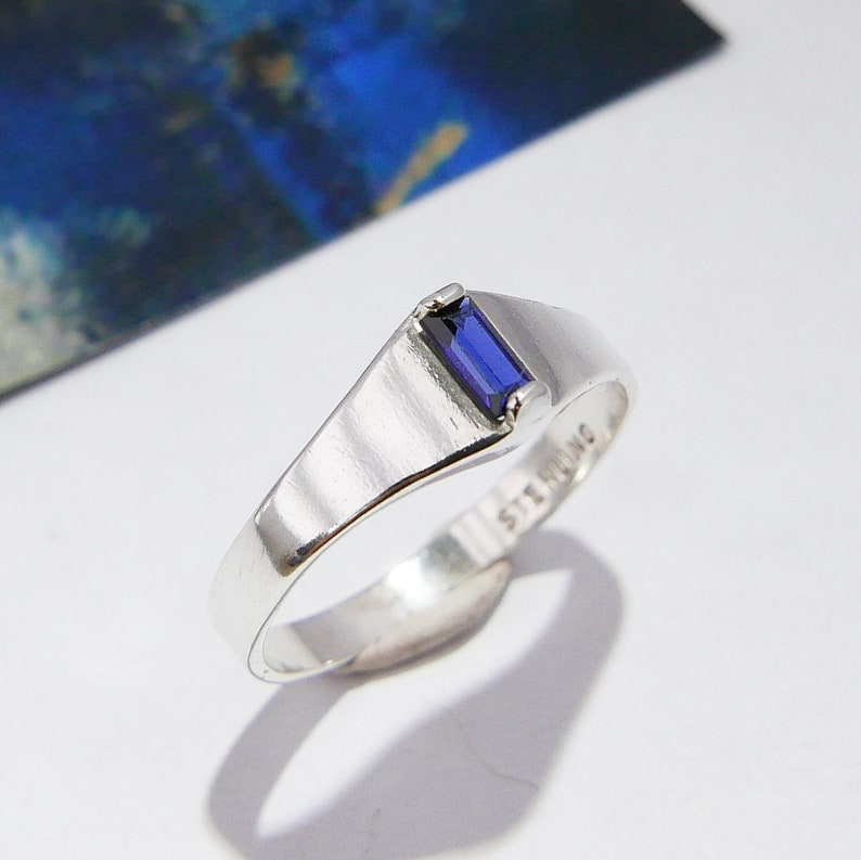 Sapphire Baguette Ring, Lab-Made Faceted Synthetic Gemstone, Deep Dark  Blue, September Birthstone, Sterling Silver Stacking Ring, Size 4 1/2