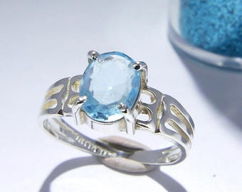 """Blue Topaz Ring, """"Lace"""" Silver Band, Pale Sky Ice Blue, Faceted Oval Genuine Gemstone, Sterling Silver Stacking Solitaire Ring, Size 6 1/4"""