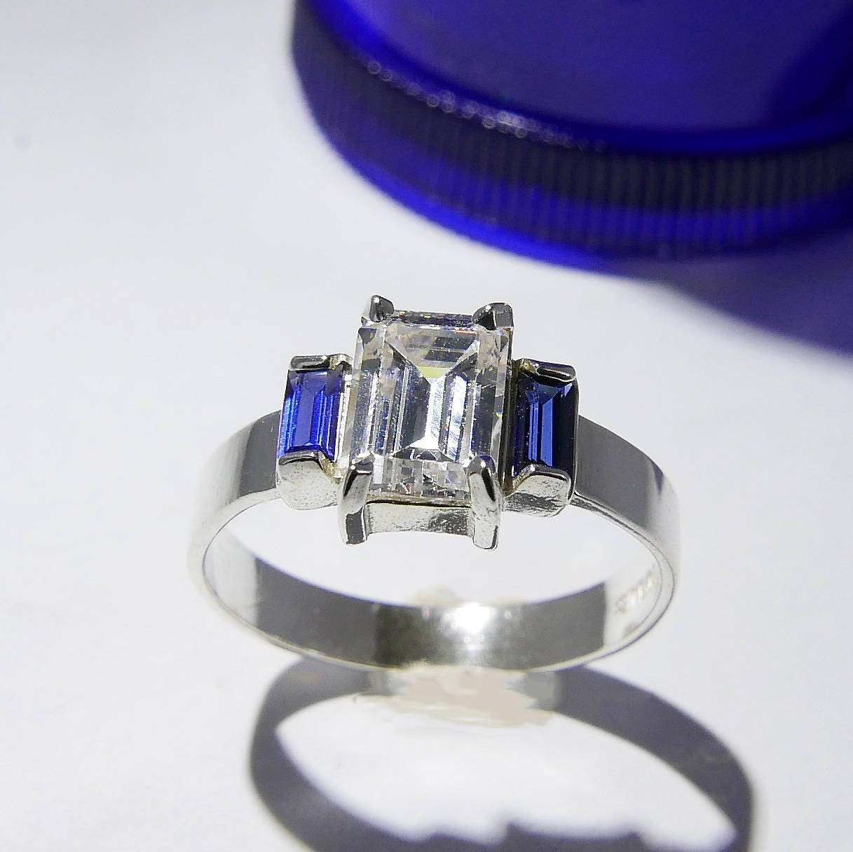 Princess Cut Synthetic Aquamarine Cubic Zirconia Three Stone Center Ring Sterling Silver Size 5