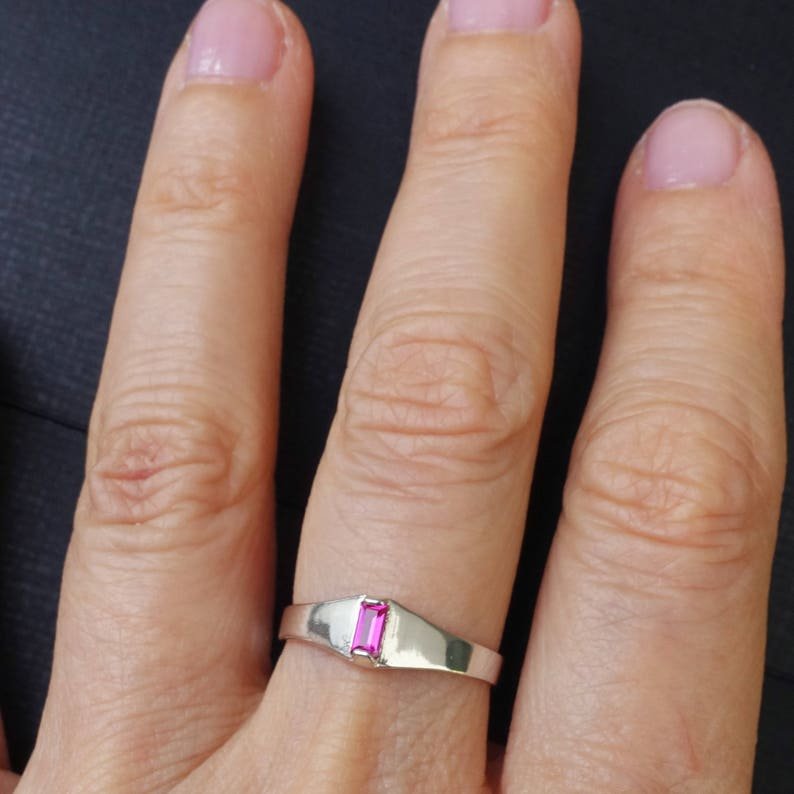 Lab-Made Faceted Synthetic Ruby Gemstone July Birthstone Size 6 Sterling Silver Stacking Ring Hot Pink Fuchsia Ruby Baguette Ring