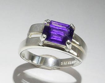 Emerald-Cut Amethyst Ring, Faceted Genuine Violet Lilac Royal Purple Gemstone, Sterling Silver Stacking Solitaire Ring, Size 6 1/2