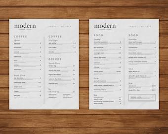 Modern Coffee + Food Menu Indesign Template