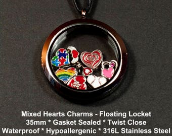 How do I Love Thee Floating Charm Locket: 35mm * Gasket Sealed * Twist Close * Waterproof * (8) Heart Charms