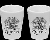 Queen Fandom Artwork Tribute Shot Glasses - Thermal Printed Dishwasher Safe Set of (4) - Handmade by TheGlassyLass