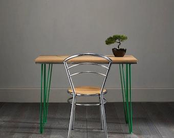 Green Inlay Oak Hairpin Desk - Striking Design