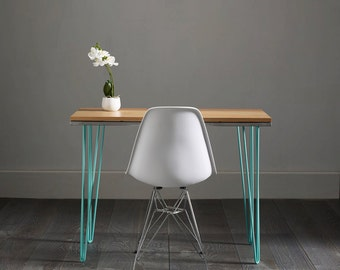 Solid Oak Hairpin Desk With Turquoise Inlay - Striking Design
