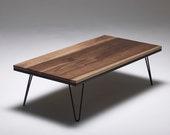 Hairpin Coffee Table in Walnut - Hardwood - Metal Legs - MADE IN ENGLAND