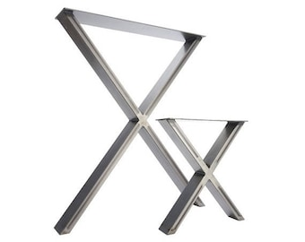 ON SALE 2 x Table Legs - Dining 'X' Pedestals in Industrial Steel