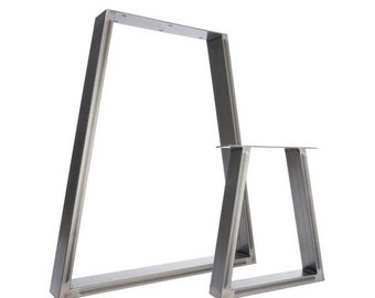 ON SALE 2 x Table Legs - Trapezium Dining Pedestals in Industrial Steel