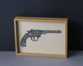 Linocut Printmaking Poster - Play A Handgun