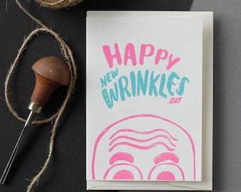 Happy New Wrinkles Day - Handmade Linocut Greeting Cards